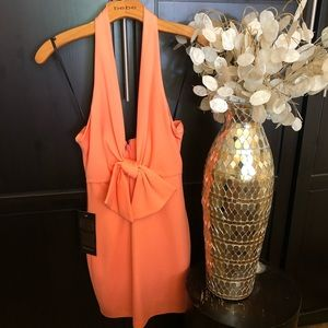 NWT Bebe Orange Halter Deep Plunge Dress